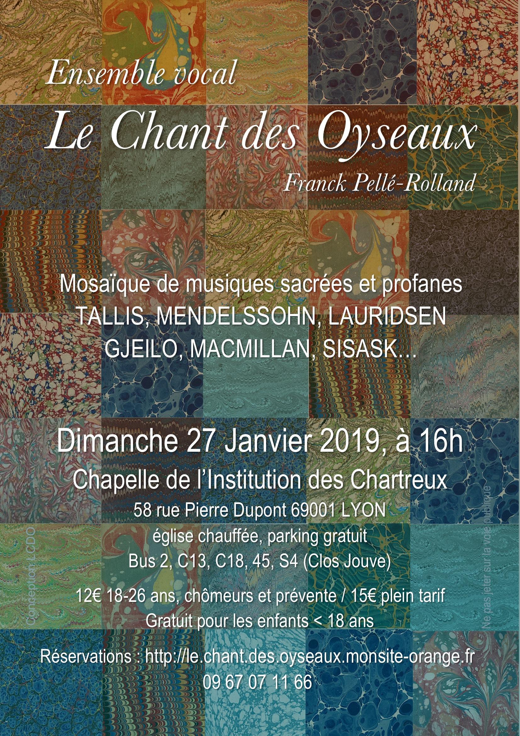 Concert de l'Ensemble Vocal Le Chant des Oyseaux le 27 janvier 2019 à Lyon (69)