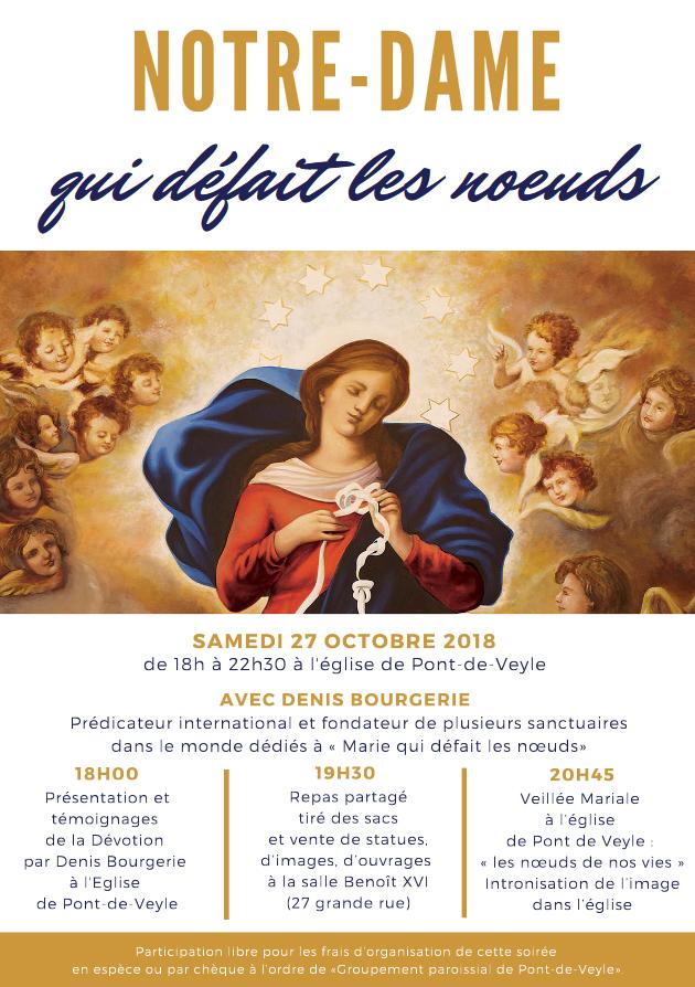 """Soirée exceptionnelle """"Notre-Dame qui défait les noeuds"""" le 27 octobre 2018 à Pont-de-Veyle (01)"""