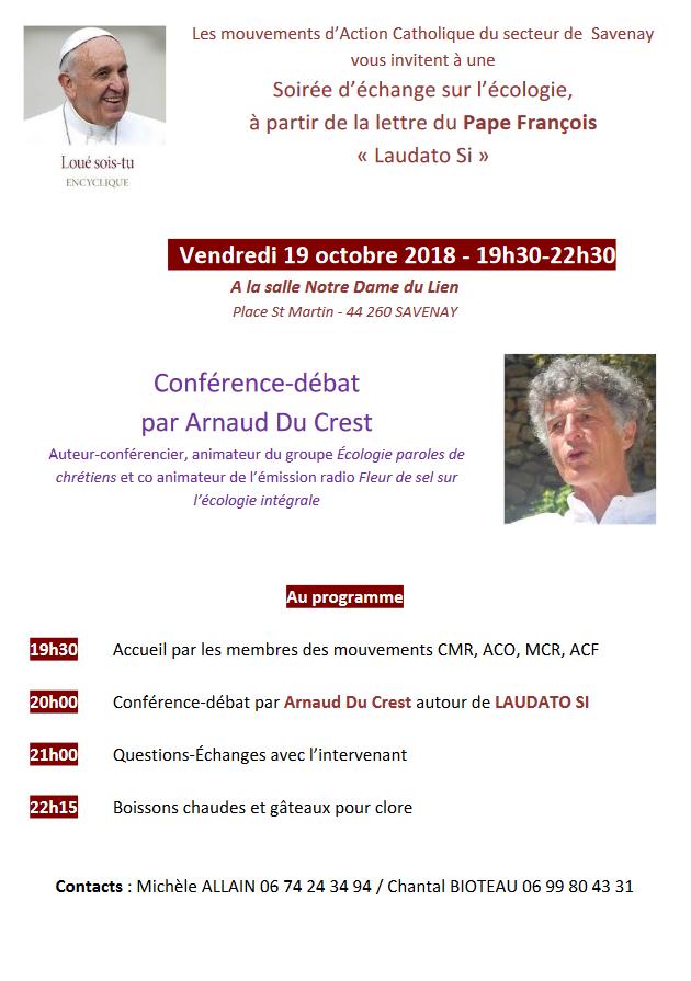 19 octobre 2018: Soirée d'échange sur l'écologie avec Arnaud Du Crest à Savenay (44)