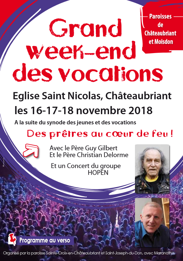 16 au 18 novembre 2018: Grand Week-end des vocations à Châteaubriant (44)