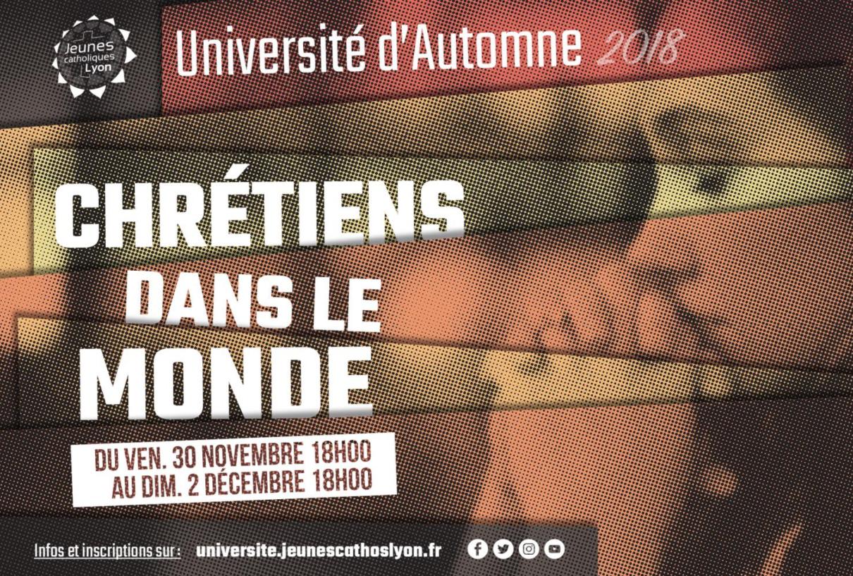 Université d'automne pour les jeunes du 30 novembre au 2 décembre 2018 à Lyon (69)