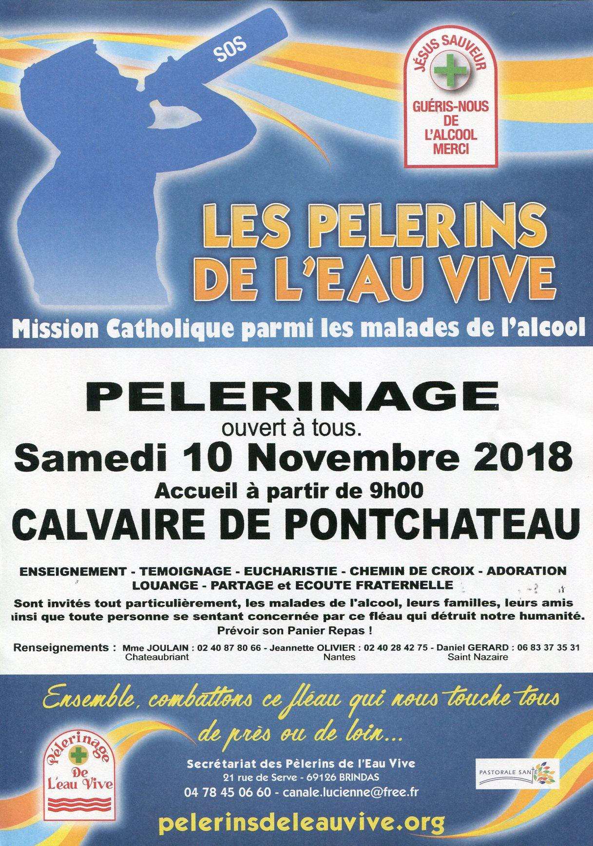 10 novembre 2018: Pèlerinage des Pèlerins de l'Eau-Vive au Calvaire de Pont-Château (44)
