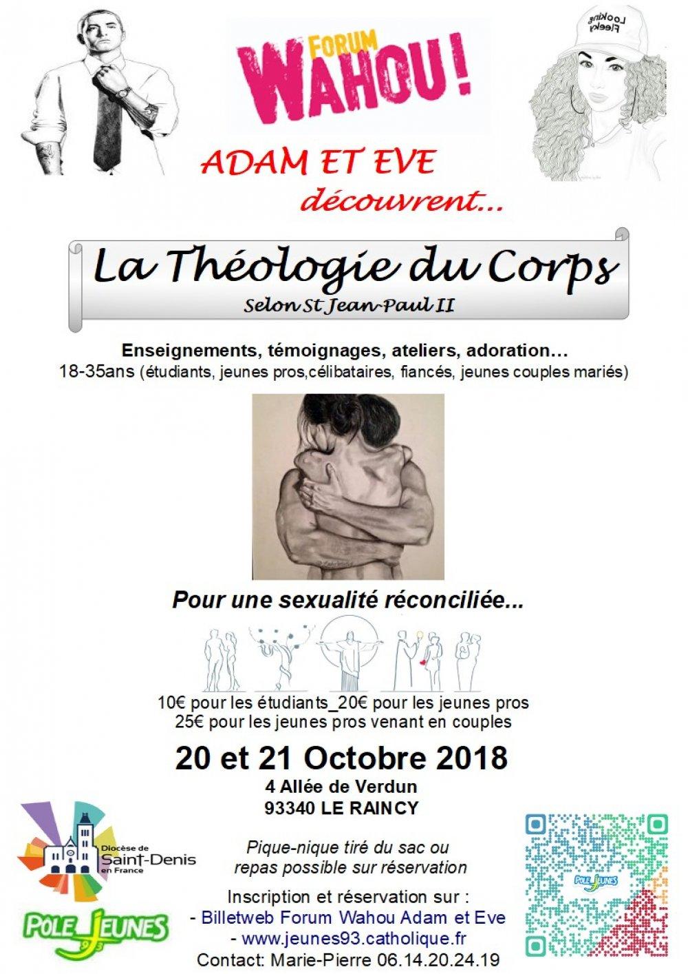 Forum Wahou Adam et Eve découvrent la Théologie du Corps – les 20 & 21 octobre 2018 au Raincy (93)