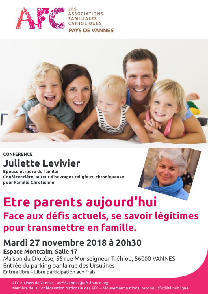 AFC – Conférence – Être parents aujourd'hui – le 27 novembre 2018 à Vannes (56)