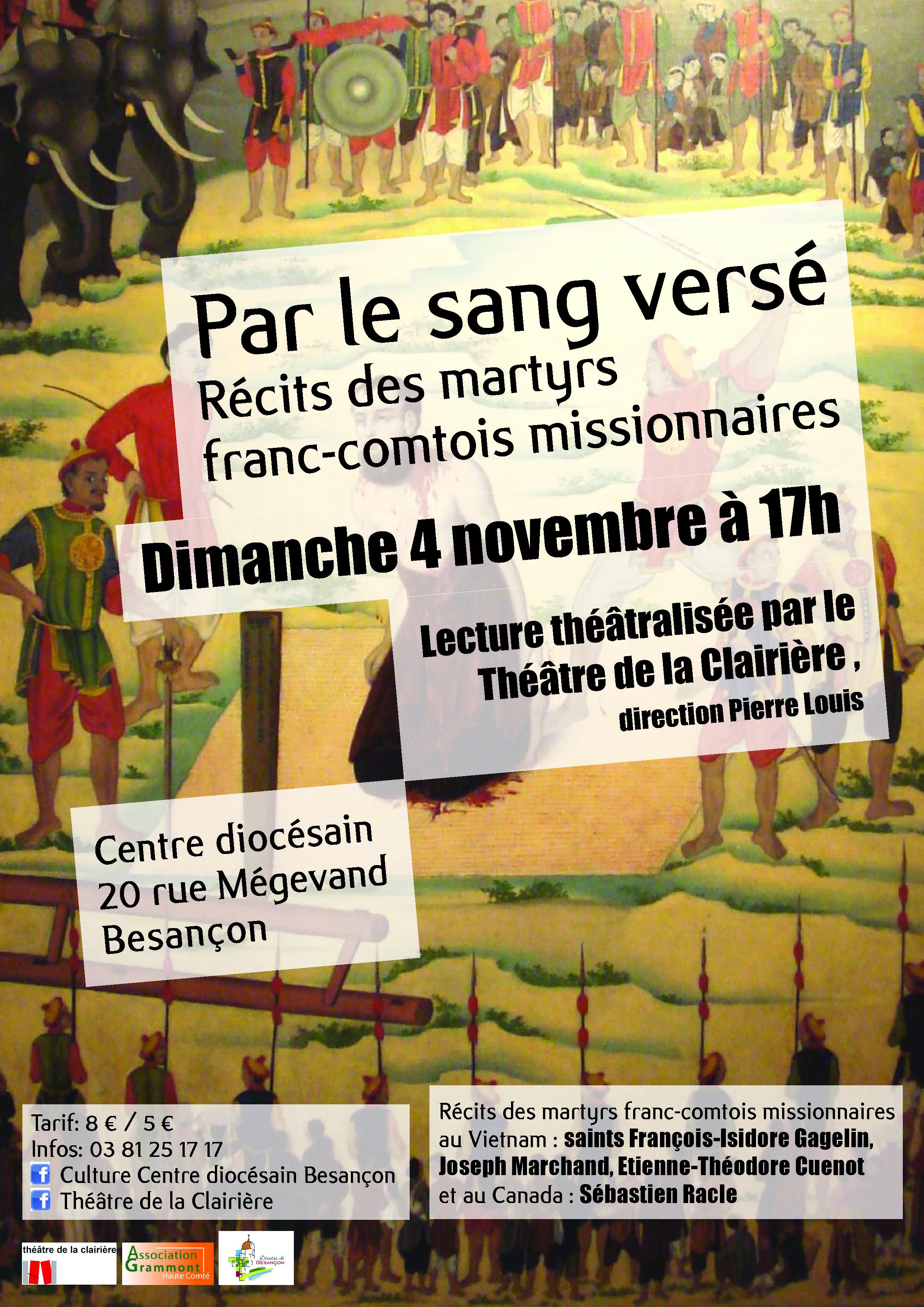 """""""Par le sang versé"""" Lecture théâtralisée par le Théâtre de la Clairière à Besançon (25) le 4 novembre 2018"""