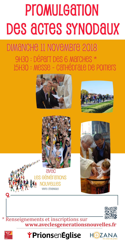 Promulgation des actes synodaux du diocèse de Poitiers (86) le 11 novembre 2018