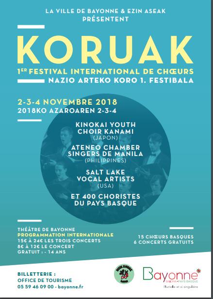 1er Festival international de choeurs KORUAK du 2 au 4 novembre 2018 à Bayonne (64)