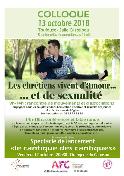 """Journée-colloque des AFC – """"Les chrétiens vivent d'Amour… et de sexualité"""" – le 13 octobre 2018 à Toulouse (31)"""