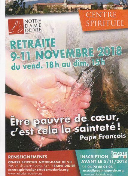Week-end Spirituel à Notre Dame de Sainte Garde (84) du 9 au 11 novembre 2018