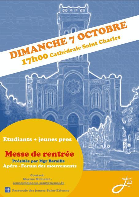 Messe de rentrée de la pastorale des jeunes de Saint-Etienne (42) le 7 octobre 2018