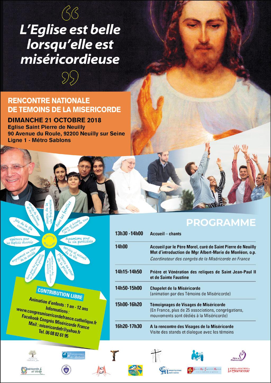 Rencontre nationale des témoins de la Miséricorde le 21 octobre 2018 à Neuilly (92)