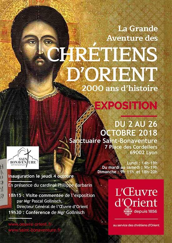 Exposition La grande aventure des Chrétiens d'orient, du 2 au 26 octobre 2018 à Lyon (69) – inauguration & conférence le 4 octobre