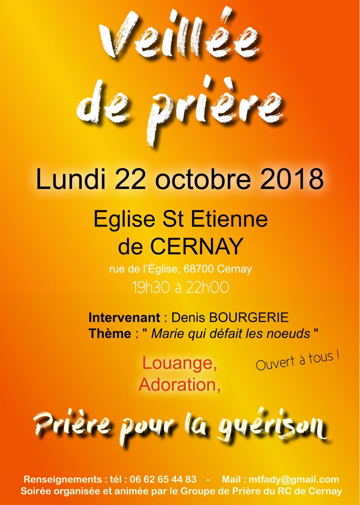 """Veillées """"Marie qui défait les noeuds"""" le 22 octobre 2018 à Cernay (68) & le 23 octobre au Mont Sainte Odile"""