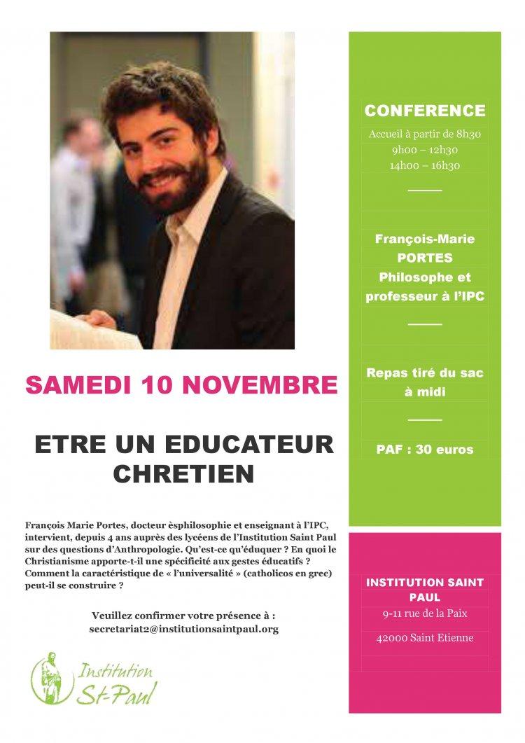 """Conférence """" être un éducateur chrétien""""  le 10 novembre 2018 à Saint-Etienne (42)"""