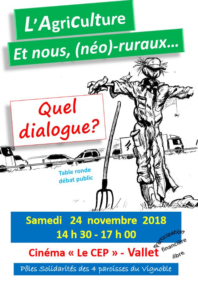 24 novembre 2018: Table ronde «L'agriculture et nous, (néo)-ruraux: quel dialogue?» à Vallet (44)