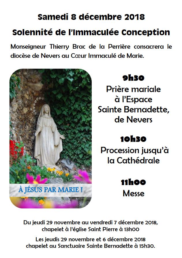 Consécration du diocèse de Nevers (58) au Coeur Immaculé de Marie le 8 décembre 2018