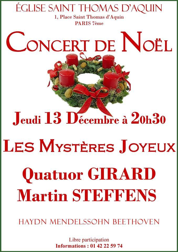 Concert de Noël avec le Quatuor Girard et Martin Steffens le 13 décembre 2018 à Paris