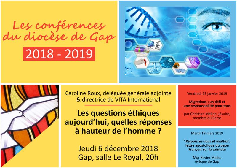 Conférence – «Les questions éthiques aujourd'hui, quelles réponses à hauteur de l'homme?» le 6 décembre 2018 à Gap (05)