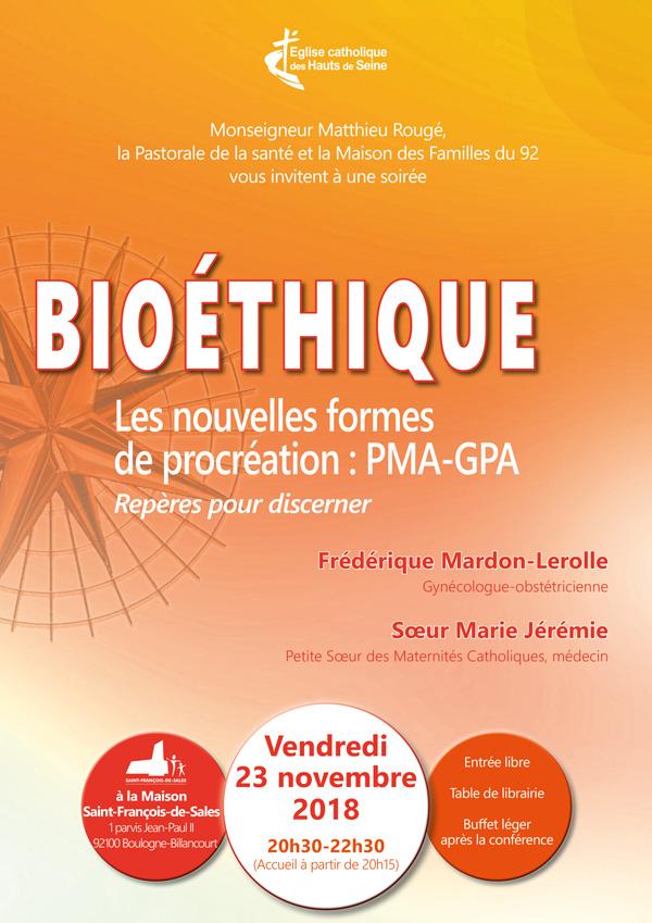 """Soirée bioéthique """"Les nouvelles formes de procréation: PMA-GPA"""" le 23 novembre 2018 à Boulogne (92)"""