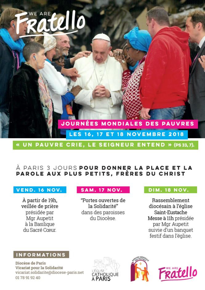 Journées Mondiales des Pauvres – Programme à Paris du 16 au 18 novembre 2018