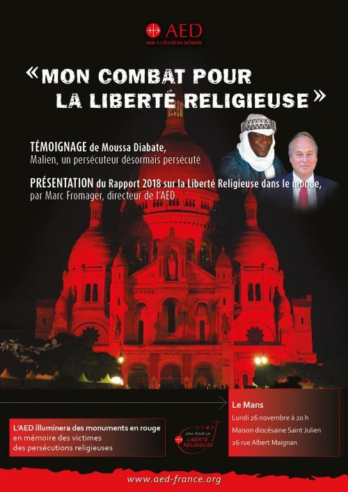 «Mon combat pour la liberté religieuse»- Témoignage de Moussa Diabaté – le 26 novembre 2018 au Mans (72)