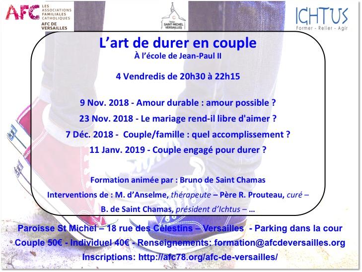 L'art de durer en couple – formation en 4 séances du 9 novembre 2018 au 11 janvier 2019 à Versailles (78)