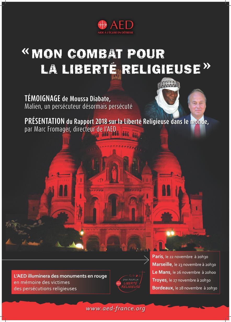 """AED – Conférence-témoignage: """"Mon combat pour la liberté religieuse"""" le 22 novembre 2018 à Paris"""