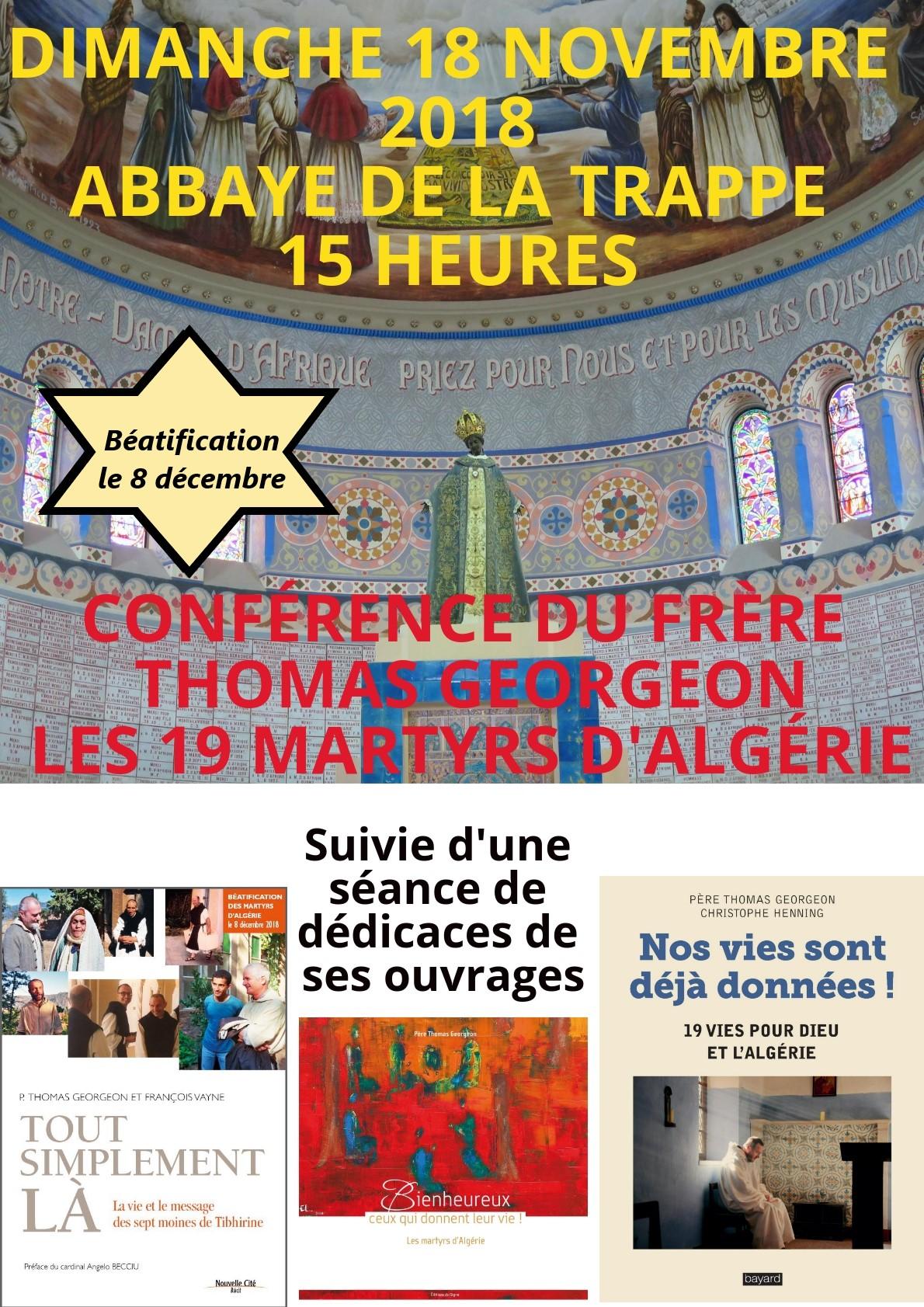 Conférence sur les martyrs d'Algérie le 18 novembre 2018 à l'Abbaye de la Trappe (61)
