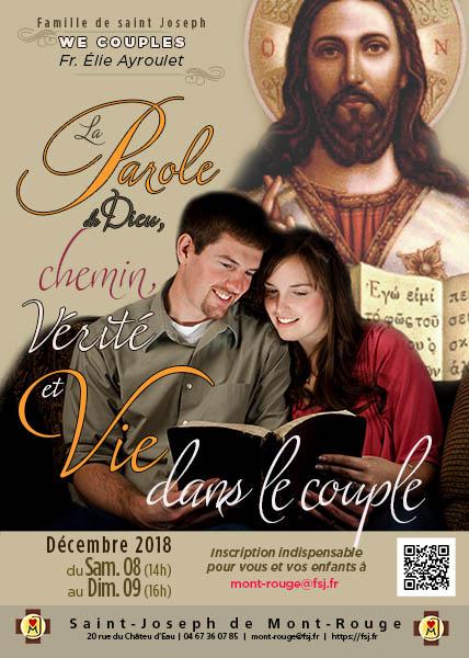 Week-end couples ou familles (enfants et jeunes bienvenus) – La Parole de Dieu, chemin, vérité et vie dans le couple – 8 & 9 décembre 2018 à Puimisson (34)