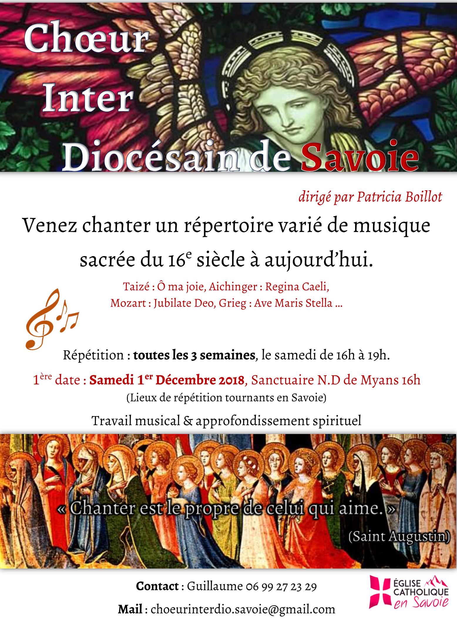 Création d'un chœur inter-diocésain de Savoie – 1ère rencontre le 1er décembre 2018 à Myans (73)