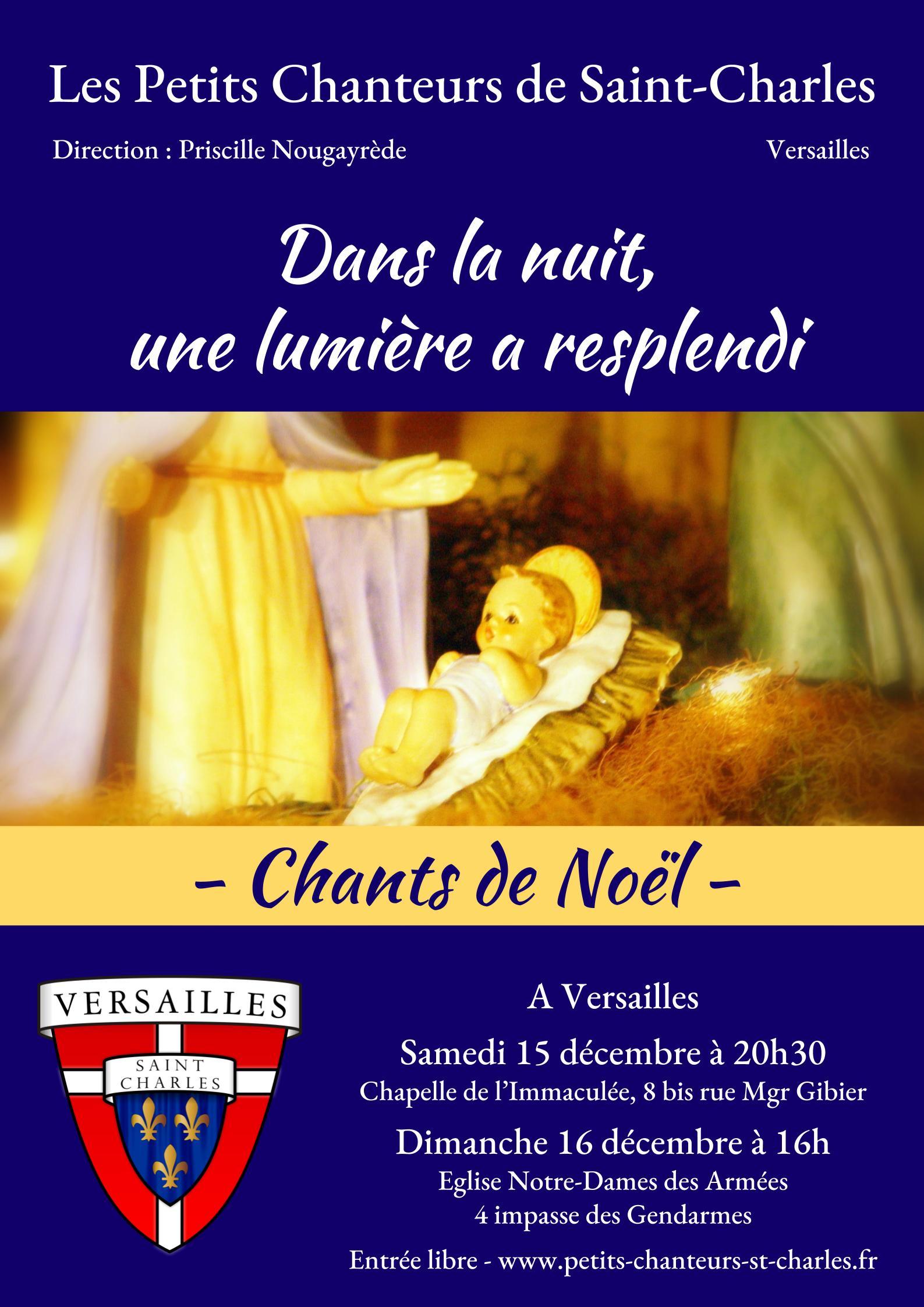 Concert de Noël des Petits Chanteurs de Saint-Charles les 15 & 16 décembre et messe de minuit le 24 décembre 2018 à Versailles (78)