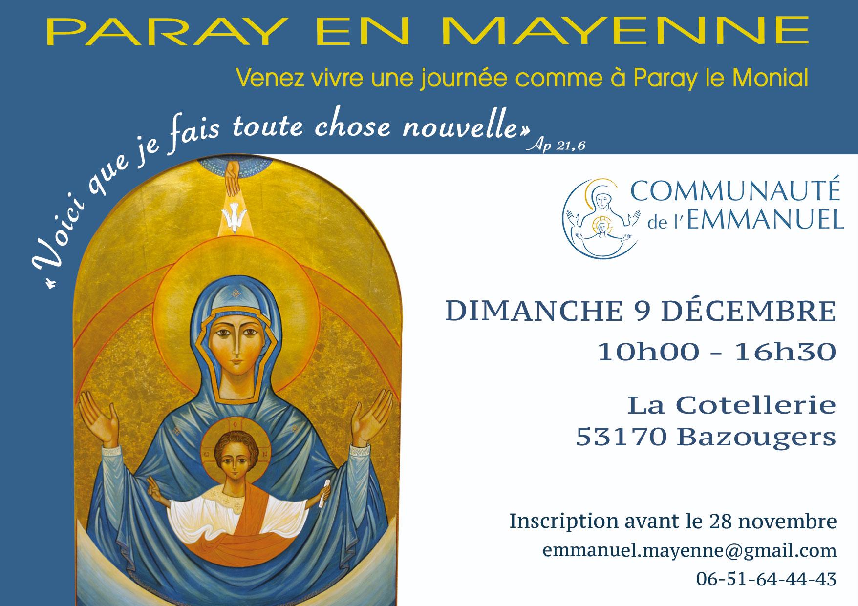 """""""Paray en Mayenne"""", vivez une journée type le 9 décembre 2018 à Bazougers (53)"""