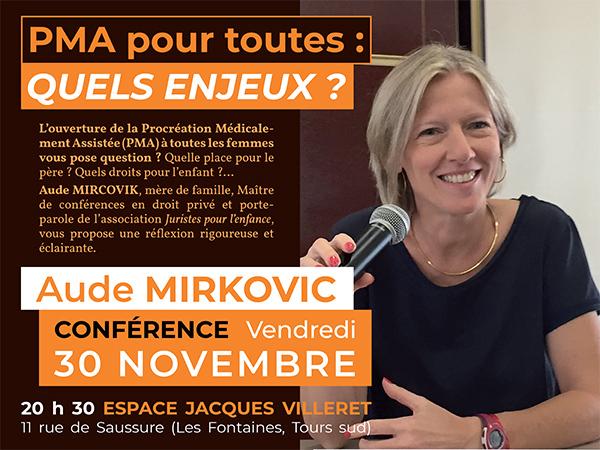 Conférence sur la P.M.A. par Aude Mirkovic le 30 novembre 2018 à Tours (37)