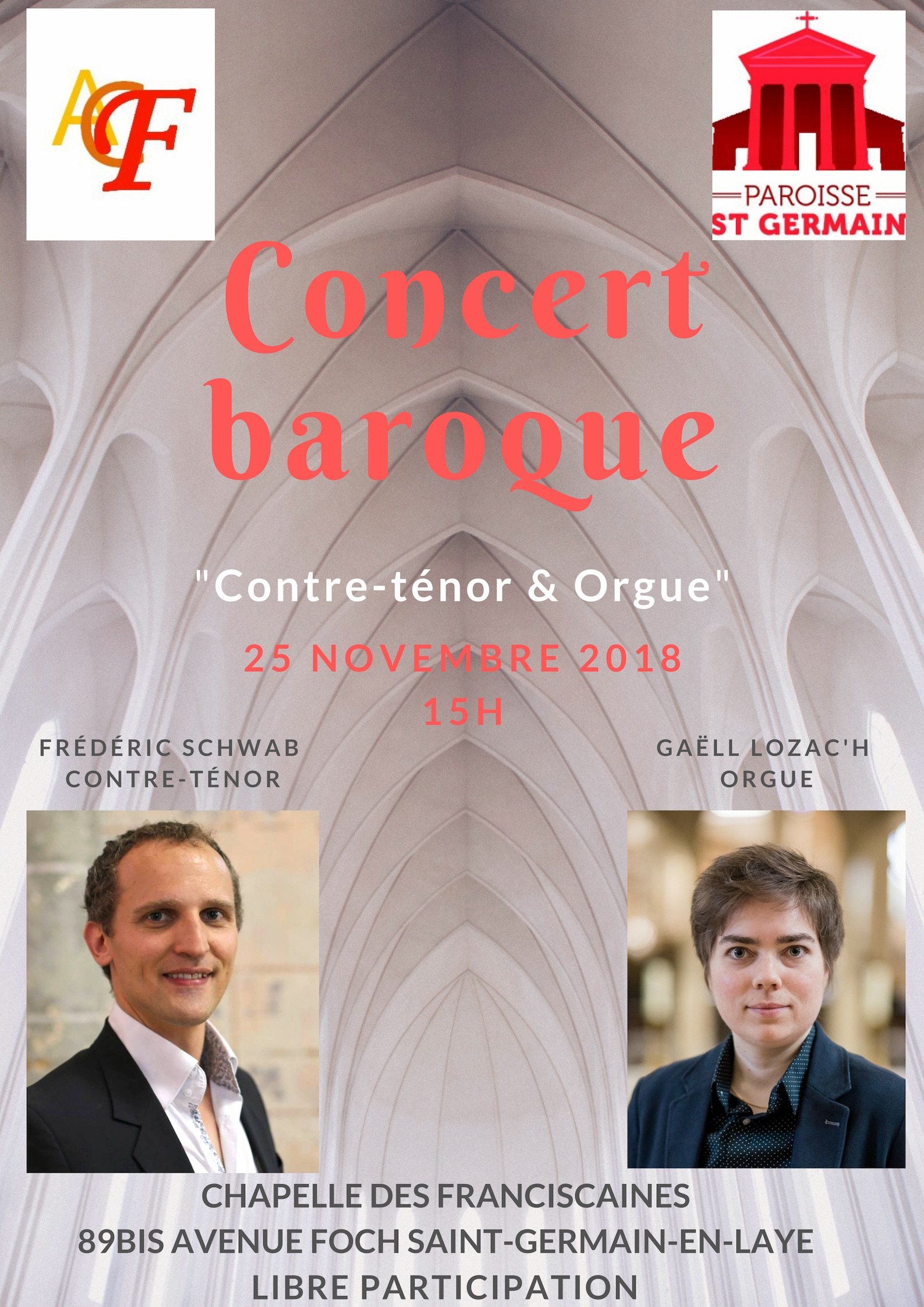 Concert Contre-ténor et orgue à Saint-Germain-en-Laye (78) le 25 novembre 2018