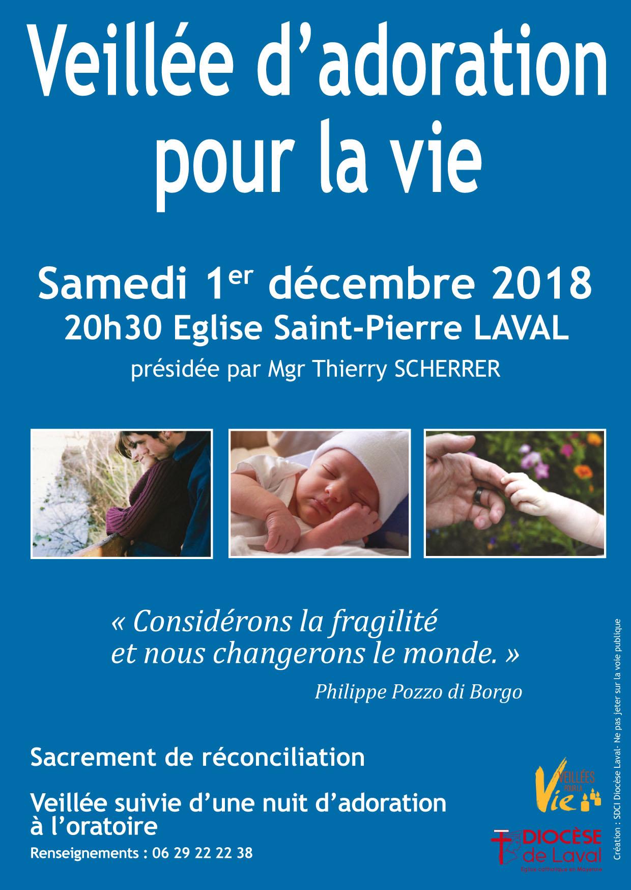 Venez prier et adorer pour la Vie le 1er décembre 2018 à Laval (53)
