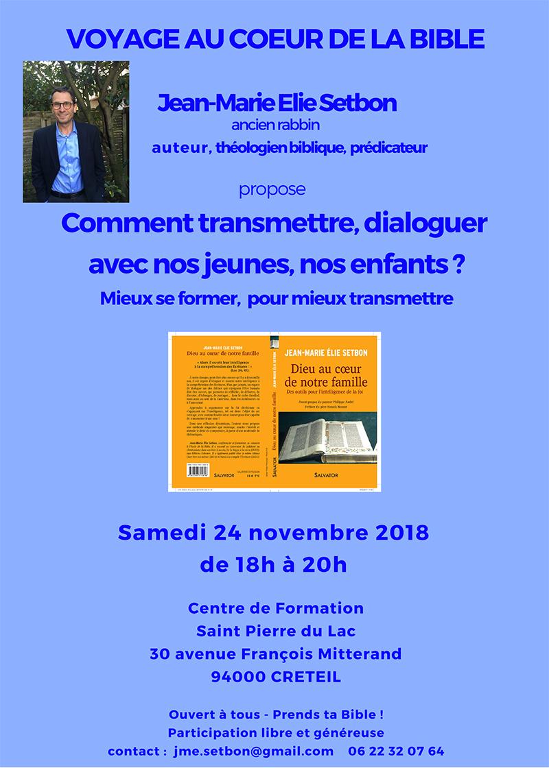 Samedi 24 novembre 2018: Voyage au cœur de la Bible avec J-M E Setbon à Créteil (94)