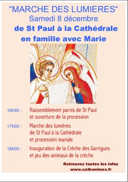 8 décembre 2018: Fête de l'Immaculée Conception et «Marche des lumières» à Nîmes (30)