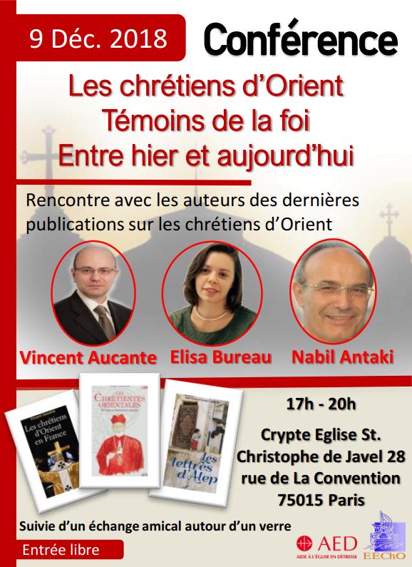 Conférence – Les chrétiens d'Orient témoignent de leur foi – le 9 Décembre 2018, Paris