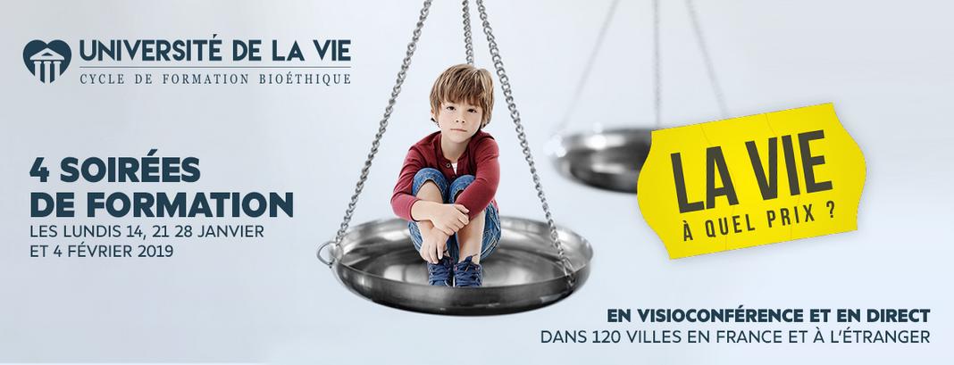 Alliance VITA – Université de la vie 2019 les 14, 21 & 28 janvier et le 4 février 2019 en visioconférence partout en France
