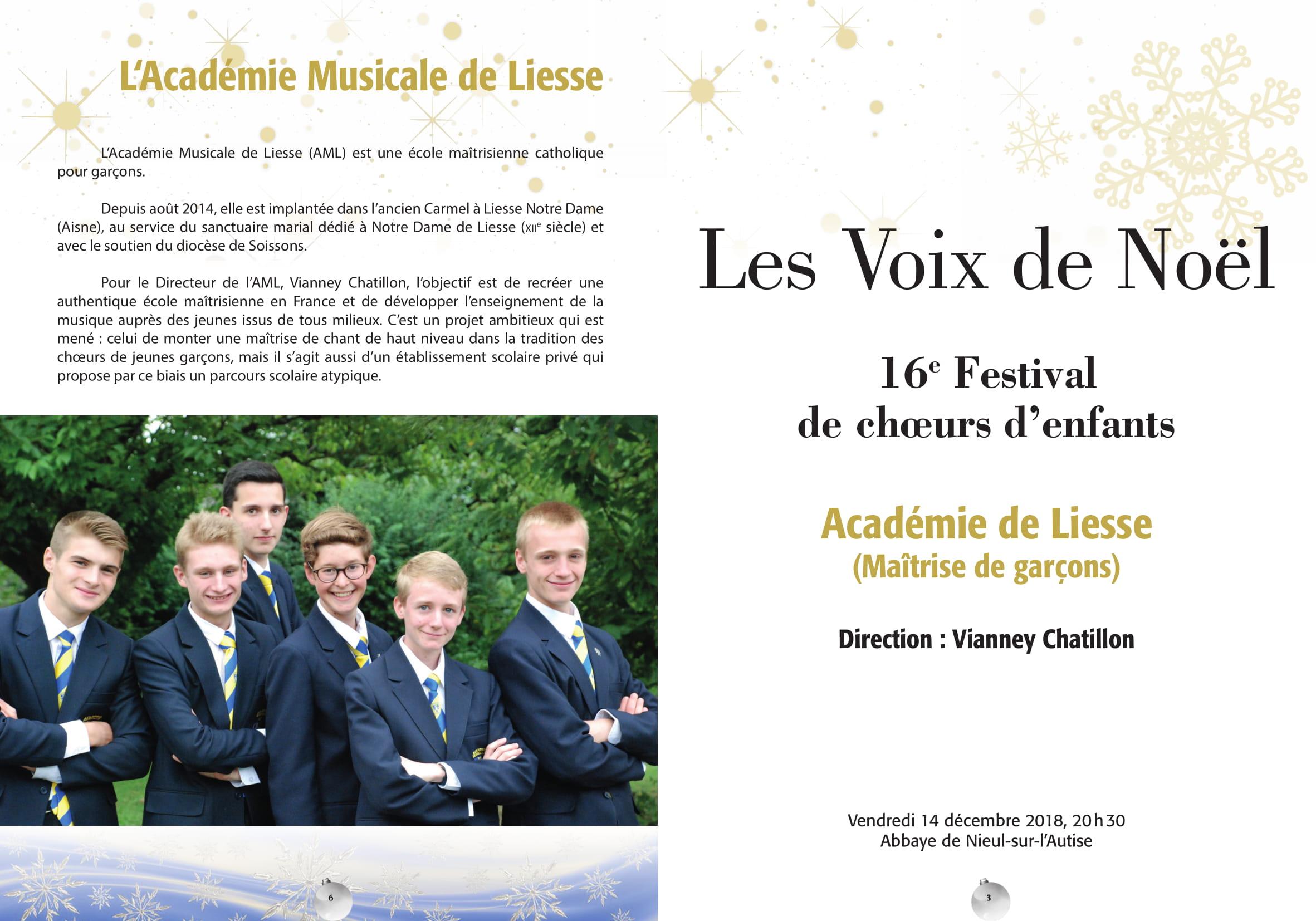 Festival Nieul sur l'Autise (85) – 14 décembre 2018 – Académie Musicale de Liesse