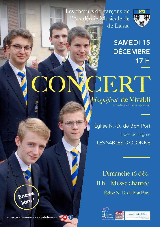 Concert et messe aux Sables d'Olonne (85) les 15 & 16 décembre 2018 – Académie Musicale de Liesse