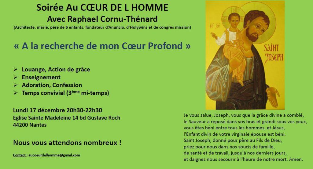 17 décembre 2018: Soirée «Au Cœur de l'Homme» à Nantes (44)