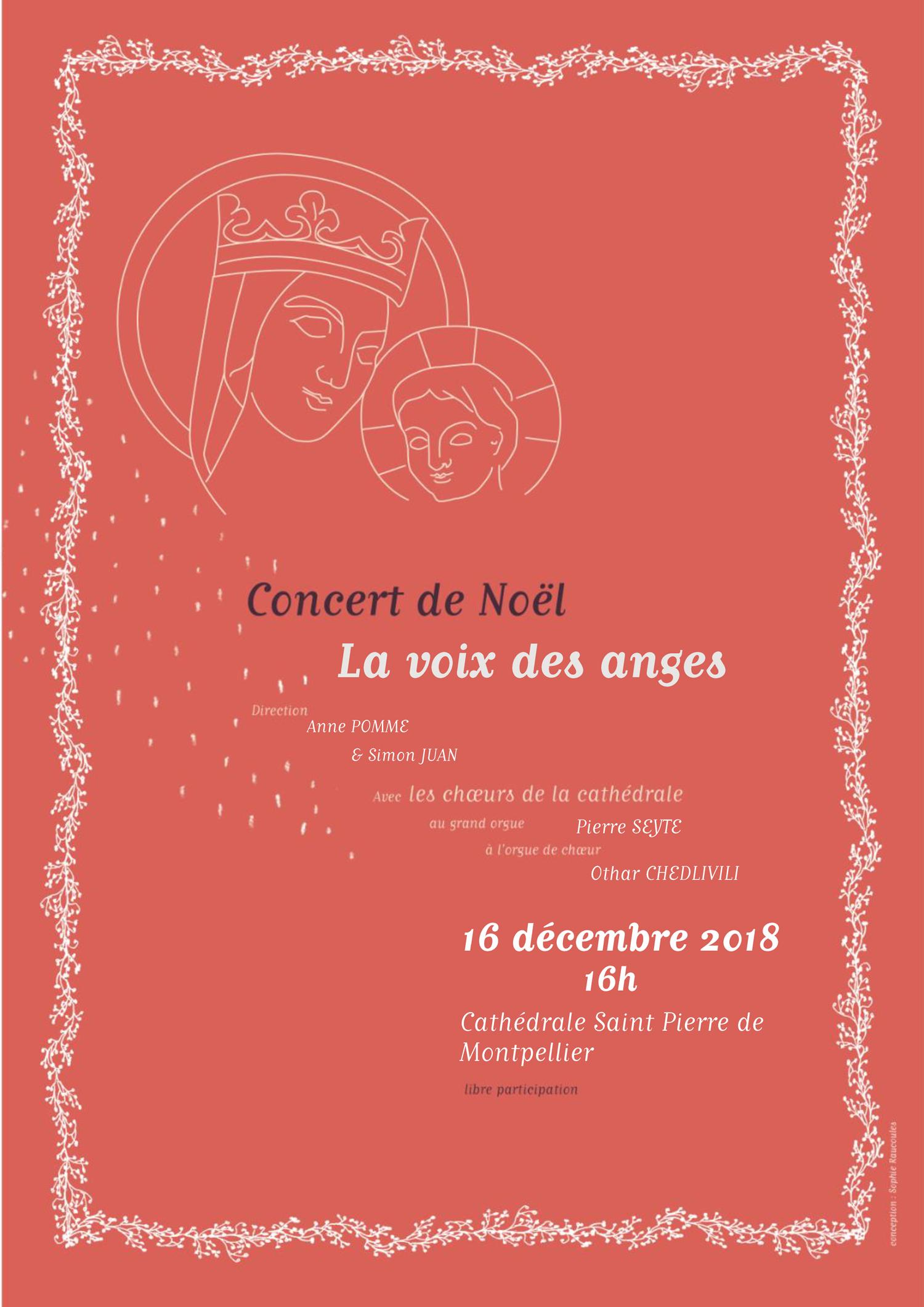 Concert de Noël à la cathédrale St Pierre de Montpellier (34) le 16 décembre 2018
