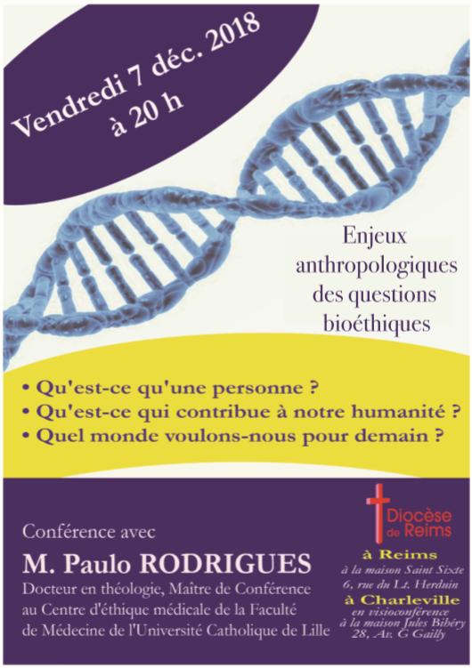 Enjeux anthropologiques des questions de bioéthique le 7 décembre 2018 à Reims (51)