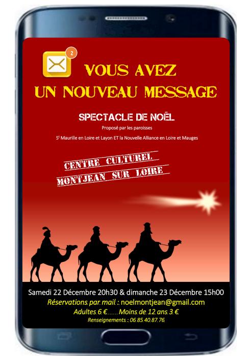 """Spectacle de Noël """"Vous avez un nouveau message"""" les 22 & 23 décembre 2018 à Montjean-sur-Loire (49)"""