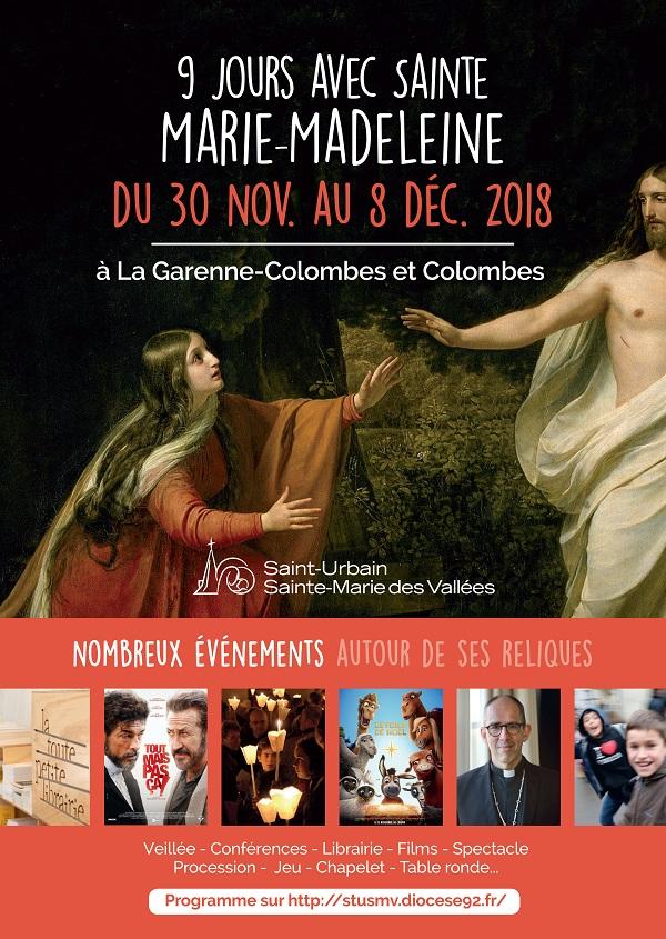 9 Jours avec sainte Marie-Madeleine jusqu'au 8 décembre 2018 à La Garenne-Colombes & Colombes (92)