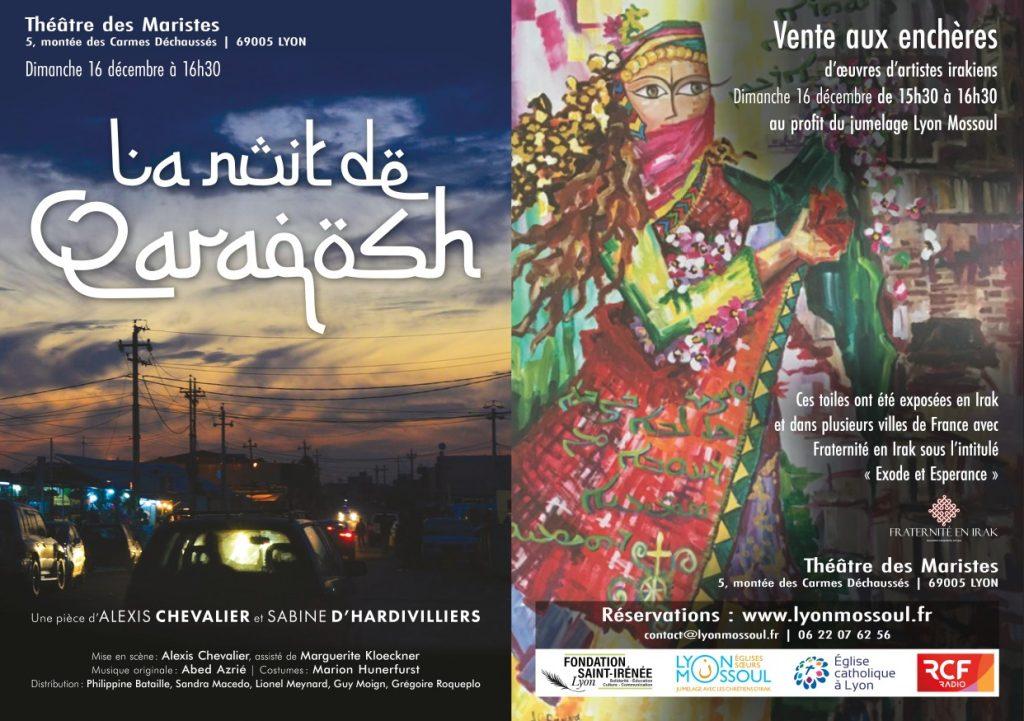 Vente aux enchères d'oeuvres irakiennes et pièce de théâtre le 16 décembre 2018 à Lyon (69)