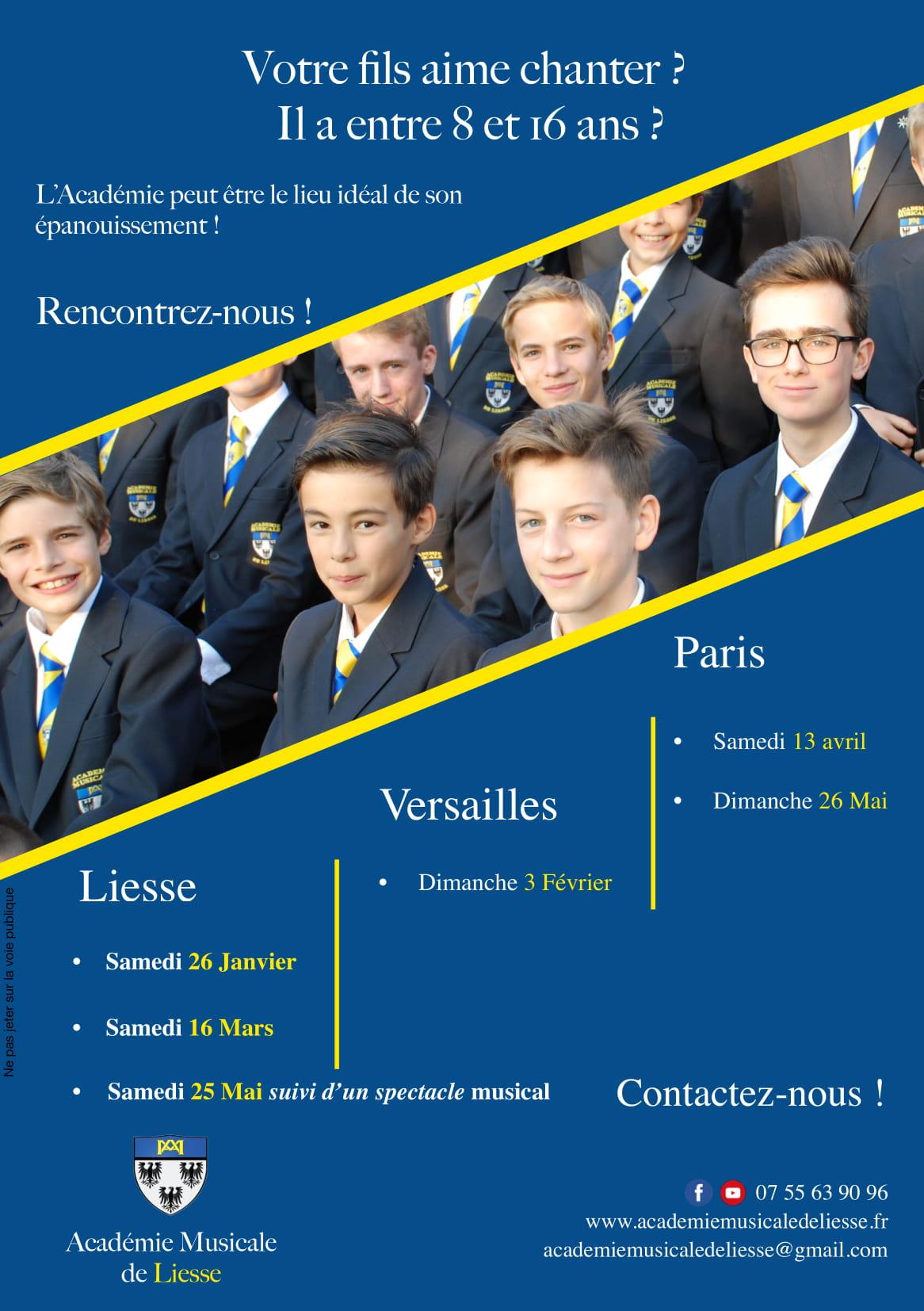 Journées portes ouvertes et auditions – Académie Musicale de Liesse (02) – le 26 janvier à Liesse, 3 février 2019 à Versailles, 13 avril à Paris…