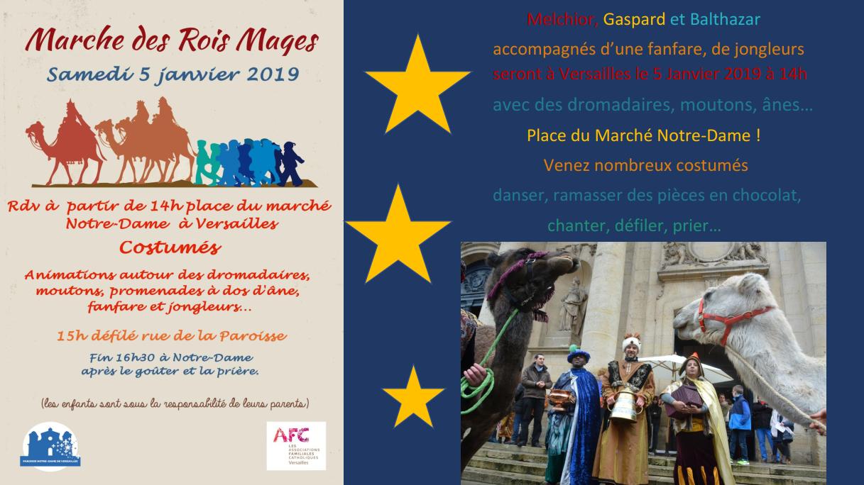 Marche des rois mages à Versailles (78) le 5 janvier 2019