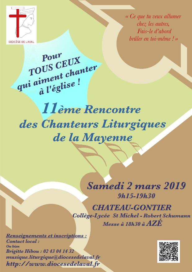 11ème Rencontre des Chanteurs Liturgiques de la Mayenne le 2 mars 2019 à Château-Gontier (53)